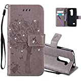 HMTECHUS LG Leon 4G LTE H340N Case 3D Crystal Embossed Love Cat Butterfly Handmade Diamonds Bling PU Flip Stand Card Holders Wallet Cover LG Leon 4G C40 Wishing Tree Gray KT