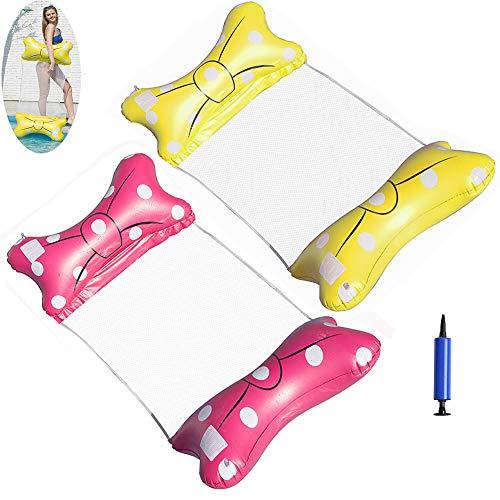 u/d Wasserhängematte Pool Hängematt Aufblasbare 2 Pack Schmetterling Luftmatratze Für Erwachsene Wasser Hammocks Lounger Spielzeug für Erwachsene Kinder Mit Luftpump(Schmetterling)