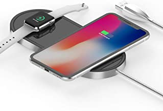Airpower Wireless Charger, Wordima 2-in-1 Wireless Charging Pad 7.5W/10W Aluminum Safe Charging Dock Compatible with Apple Watch Series 4 3 2 1 iPhone XS/XR/X/8/8Plus Samsung S8 Note 8