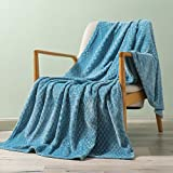 Exclusivo Mezcla Brushed Diamond Check Large Flannel Fleece Throw Blankets (Slate Blue, 50' x 70')-Soft, Warm and Lightweight