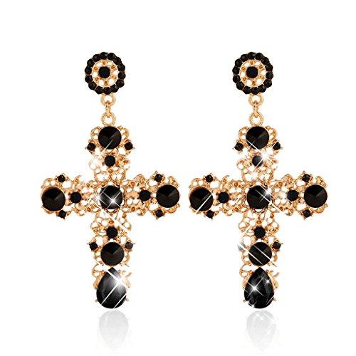Senoow, Eleganti orecchini a perno da donna, con pendenti a forma di croce, in stile stravagante, con diamanti sintetici, colore: Nero , cod. Senoow