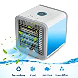 Aire Acondicionado Portátil Enfriador, Climatizador Evaporativo, Aire Acondicionado, 3-en-1 Mini Enfriador Humidificador Purificador de Aire Portátil USB Aire Acondicionado para Casa/Oficina/Camper