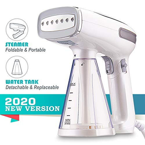 BusyPiggy 2020 Travel Garment Steamer, Handheld Foldable Fabric Wrinkle Remover, Portable Steamer for Clothes with 250ml Detachable Water Tank, 25s Fast Heat-up for Cloth, Leak-Proof Design