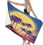 Toalla De Playa Microfibra,Salida De Luna Llena De Estilo Retro con Palm Noche Mágica Romántica En La Playa Toalla De Playa Ligera Viajes Familiares En Hoteles Natación Deportes De F