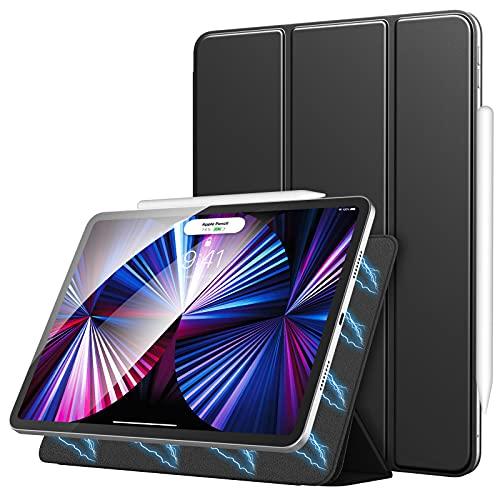 MoKo Magnética Funda Compatible con Nuevo iPad Pro 11 2021/2020, iPad Pro 3.ªGeneración[Admite Carga Inalámbrica Apple Pencil]con Fuerte Adsorción Magnética Delgada con Auto Sueño/Estela, Negro