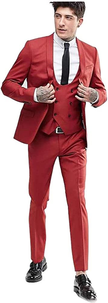 Men's Red Shawl Laple Tuxedo Blazer Double Breasted Vest Pants Suits Mens Suits for Wedding Meeting Party