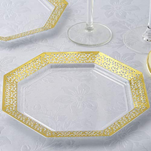 "Efavormart 24 Pack 8"" Gold Trim Octagonal Clear Disposable Partytown Plastic Plates"