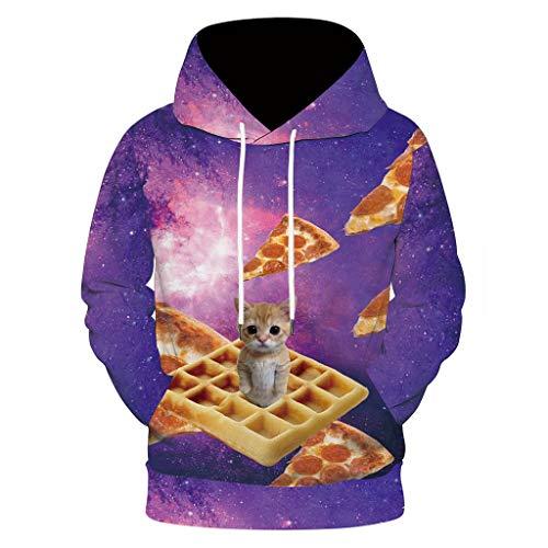 Deelin sweatshirt met capuchon voor heren, creatief, modieus, kattenmotief, 3D-print, sweatshirt, capuchon, herfst, winter, warm, truien, top, grappig voor heren