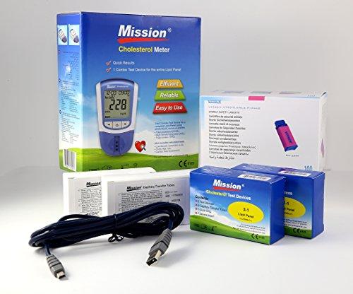 MISSION Misuratore COLESTEROLO 4IN1 Starter Kit (HDL, LDL, ColesteroloTotale, Trigliceridi) + 10 DispositiviDiTest + 100 Pipette Capillari + 100 Lancette Pungidito Sterili + Cavo Mission