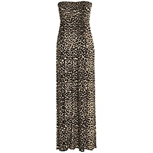 Crazy Girls Womens Bandeau Boobtude Gathered Sheering Strapless Long Maxi Dress (XXL-UK20/22, Brown Leopard Print):Kisaran