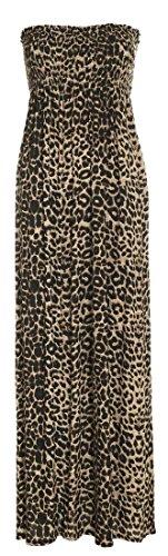 Crazy Girls Womens Bandeau Boobtude versammelten Sheering trägerlosen Long Maxi Kleid (S/M-EU36/38, Brown Leopard Print)