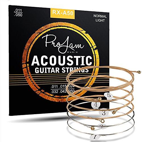 ProJam Gitarrensaiten Westerngitarre - Phosphor Bronze umwobene Stahl Saiten für Western Gitarre & Akustikgitarre - Premium Gitarren Saiten Akustik - 6 Saiten Set