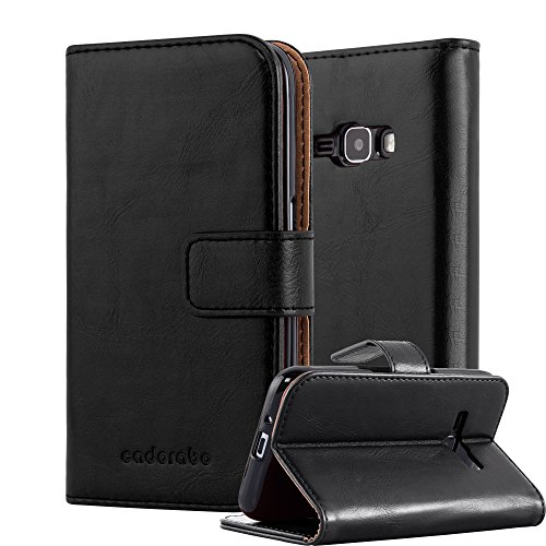 Cadorabo Hülle für Samsung Galaxy J1 2016 (6) - Hülle in Graphit SCHWARZ – Handyhülle im Luxury Design mit Kartenfach & Standfunktion - Case Cover Schutzhülle Etui Tasche Book