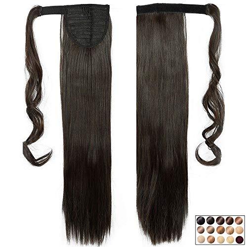 """23"""" Queue de Cheval Cheveux Synthetique Postiche Extension Lisse - Wrap Around Ponytail - Marron Foncé (58cm-120g)"""