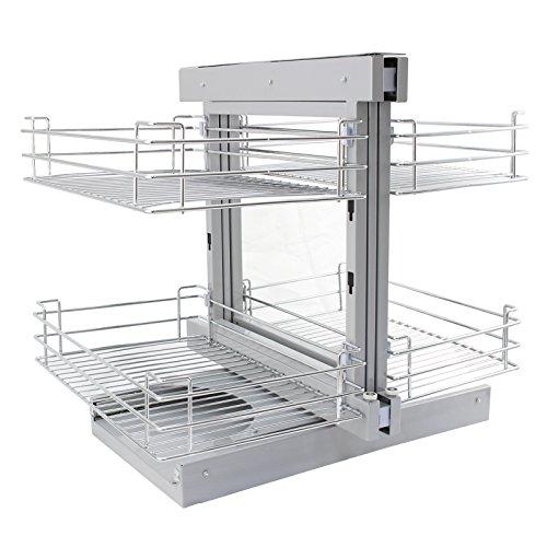 KuKoo – 4 Paniers Coulissants d'Angle, Côté Gauche, en Métal pour Placard ou Cabinet de Cuisine entre 90 – 100cm
