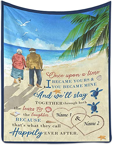 Personalized Fleece Blanket for Couple - Once Upon A Time - Customized Gift for Valentine's, Birthday, Engagement, Wedding, Anniversary - 30