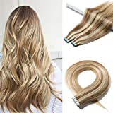 40 Pieces 100g Rooted Tape In Hair Extensions Human Hair Invisible Seamless Skin Weft Double Side Tape Remy Human Hair Extensions Natural Straight For Women (18'',#12P613 Golden Brown&Bleach Blonde)
