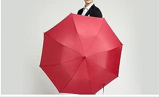 Men's Umbrella Folding Two Fold Umbrella Big Purple Umbrella Big Umbrella Three Automatic Umbrella Huhero (Color : Red)