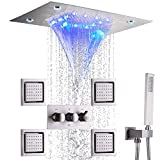 """DULABRAHE Brushed Nickel Rain Shower System Faucet Set Concealed Luxury Ceiling LED 14 X 20"""" Big Waterfall Rainfall Shower Head With Handheld Spray Combo Shower Body Jets For Bathroom"""