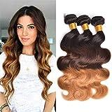 Tressen Echthaar Virgin Hair Blond Brazilian Hair Ombre Weave Hair Extension Echthaar Lange 18 20 22 zoll Grad 8A Real Remy Hair Steif for Black Women