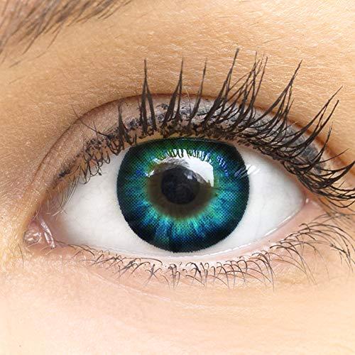 MeralenS Manga Anime Blaue Circle Lenses - Cool Blau Ohne Stärke mit Kontaktlinsenbehälter - 15mm Farbige Big Eyes Contact Lenses