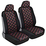 1993 toyota corolla seat covers - BDK Red Rose Print Car Seat Covers, Front Seats Only – Flower Pattern Front Seat Cover Set with Matching Headrest, Sideless Design for Easy Installation, Universal Fit for Car Truck Van and SUV
