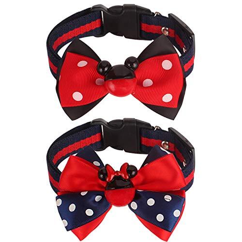 Xunn Mickey Mouse pajarita collar para cachorros – 2 collares pequeños ajustables para perros y gatos mascotas   Disney Fun (azul y rojo, S: 20,6-33 cm)