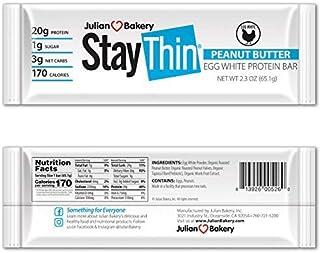 Julian Bakery Stay Thin Protein Bar   Peanut Butter Egg White   Certified Organic   Egg White   20g Protein   3 Net Carbs ...