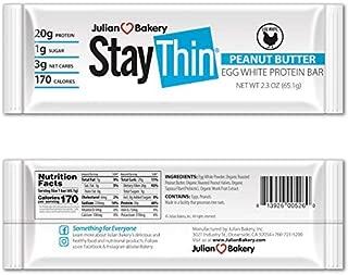 Julian Bakery® Stay Thin® Protein Bar (Organic Peanut Butter) (170 Cal)(20g Protein)(Egg White)(3 Net Carbs)(4 Ingredients)(1g Sugar)(10 Gluten-Free Bars)