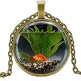 Inveroo Personalidad Moda Encanto Goldfish Acuario Colgante Redondo Collar Hombres y Mujeres Colgante Collar joyería 50 cm