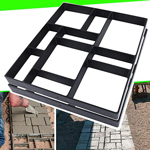 17.5'x15.5'x1.5' 2Pack Concrete Molds Reusable Walk Path Maker Paving DIY Path Garden Yard Patio Mold (10-Grid)
