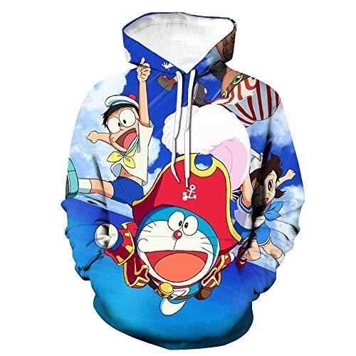 Anime Impresin 3D Ropa Deportiva de Hip HopDisfraz de Anime de Doraemon, Jersey Unisex con Capucha Impresa en 3D para Juegos de rol-1_XXXXL