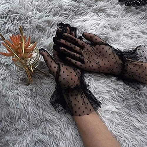 Guantes de encaje para mujer, diseño de lunares, de encaje corto, de cortesía, ideales para bodas, fiestas de té o fiestas (negro).