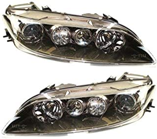 Headlight Compatible with 2006-2008 Mazda 6 Pair Halogen Clear Lens
