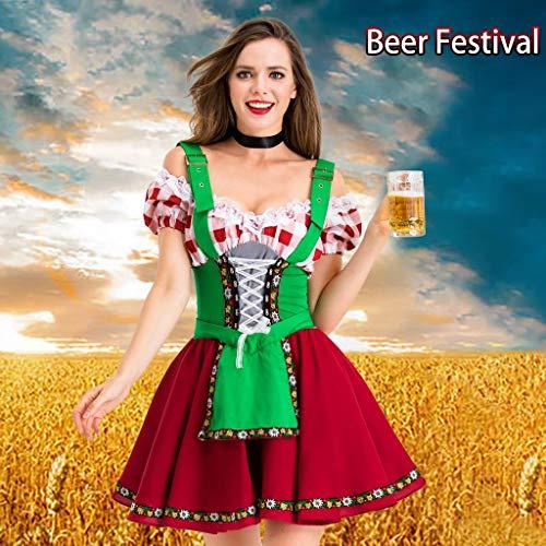 HYOON Oktoberfest Dirndl Damen Midi Set 2 teilig mit Bluse und Halsschmuck I Trachtenkleid Damen 3 TLG
