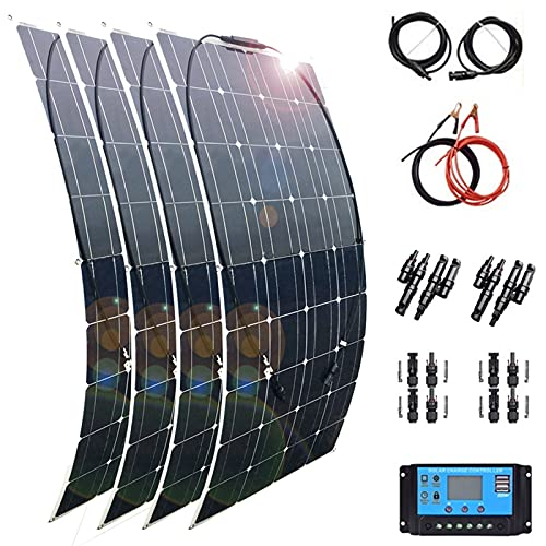 Flexible Solar Panel 1200W 18V Solar Panels Kit Monocrystalline 4 X 300W Solar System Kit Hightweight Solar Battery Charger with 60A Controller PV Connector for RV Boat Cabin Tent Car Trailer…