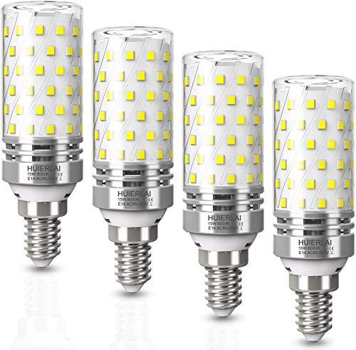 LED E14 Lampen 15W E14 LED Kaltweiß led Glühbirnen 6000K 1600LM E14 Led Mais Birne Ersatz 120W Glühlampe, Kandelaber Led Leuchtmittel E14 Maiskolben Led Lampe Kerze Licht Energiesparlampe, 4er Pack