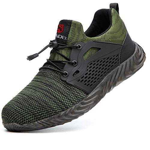 SUADEX Indestructible Steel Toe Work Shoes for Men Women Puncture Proof Composite Toe Working Shoes Black Green 12 Women/10Men