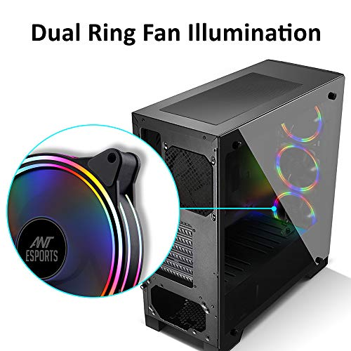 Ant Esports ICE-300TG Mid Tower Gaming Cabinet Computer case Supports ATX, Micro-ATX, Mini-ITX Motherboard with Transparent Tempered Glass Side Panel, 4 x 120 mm Fan (3 Rainbow Front/ 1 Black Rear)