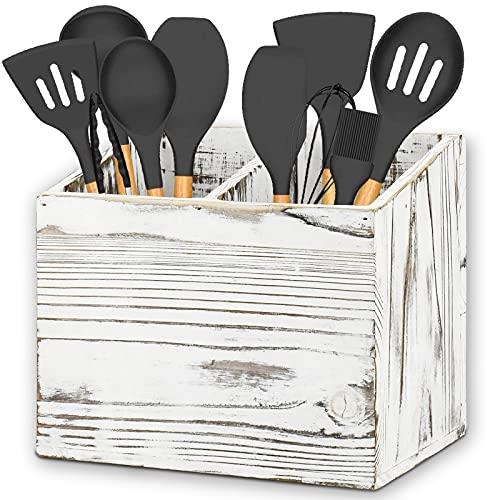 Y&ME YM Kitchen Utensil Caddy With 2 Compartments, Rustic Kitchen Utensil Holder Wood Utensil Organizer Box, Farmhouse Utensil Crock Flatware Organizers, Cutlery Storage Box For Kitchen (White)