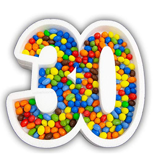 ocballoons Portaconfetti Polistirolo Personalizzabile Numero Nome Scritta Sagome confettata Nomi Contenitore Caramelle Confetti Personalizzato (Numero 30)