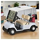 10L0L LCD Display Mini Golf Cart Clock for Golf Fans Great Gift for Golfers Superior Race Souvenir Novelty Golf Gifts (White) (1)