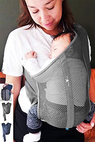Wallaboo Babytragetuch Balance, Tragetuch aus Baumwolle mit luftiges Netzgewebe, in Einheitsgröße, verstellbarer Schultergurt, Frabe: Grau air