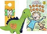 Maison Chic Tooth Fairy Kit - Danny The Dinosaur Plush Figure w/ Pocket, Loose Tooth a Tooth Fairy Book & Door Hanger for Little Boys About to Loose a Tooth (Dinosaur with Loose Tooth Book)