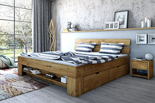 Elfo Futon Bed Wild Oak Solid Oiled 140 cm Includes 4 Bed Boxes Footboard Shelf Exsopo