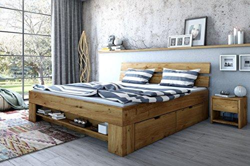 Elfo Futonbett Wildeiche Massiv geölt 180cm inkl. 4 Bettkästen, Fußteilregal homeforyou24