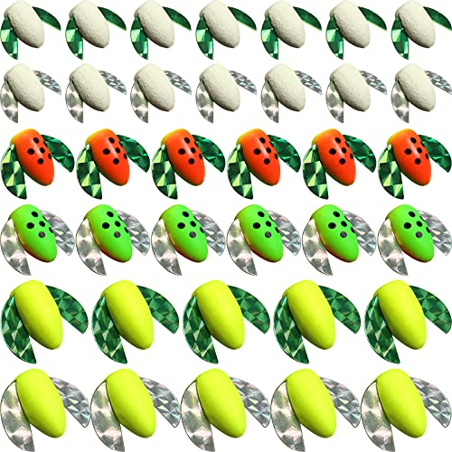 60 Pieces Foam Floats with Wings Snell Floats Pompano Rigs Fishing Rig Floats Oval Spinner Rig Floats for Trout Catfish Walleye Bass (Fluorescent Green, Yellow, Mix Color)