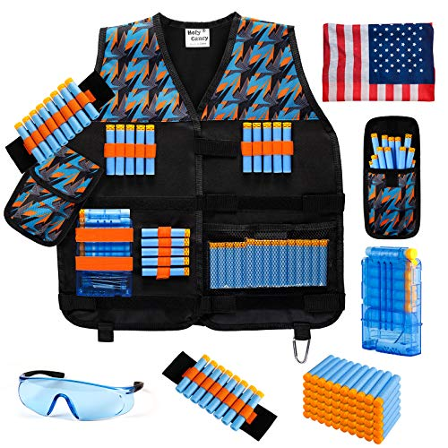 Hely Cancy Kids Tactical Vest Kit for Nerf N-Strike Elite Guns for Boys & Girls, with Darts, Reload Clip, Tactical Scarf, Wrist Band and Protective Glasses Blue