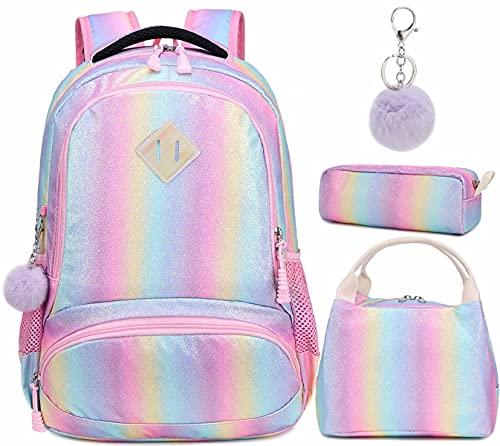 Zaino Glitter per Ragazze Arcobaleno - Zaino Prescolare per Bambini Carino Zaino da Viaggio Leggero Bel Regalo da Giorno Casual per Ragazze 3 Packs(Shiny Pink)