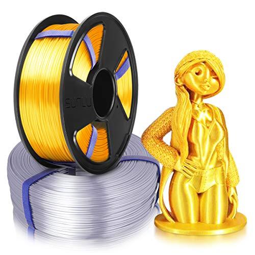3D Drucker Seide PLA Filament 1,75, SUNLU 2 Farben Seide PLA 1,75 mm MasterSpool, Fit FDM 3D-Drucker, 1 kg Spule, 2er Pack, Maßgenauigkeit +/- 0,02 mm, Seide PLA Hellgold + Silber